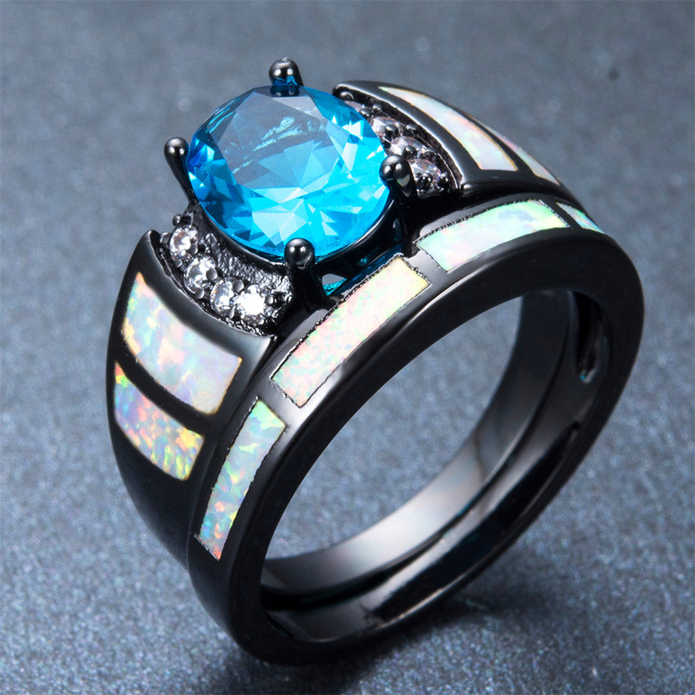 women blue topaz wedding ring set - Blue Topaz Wedding Rings