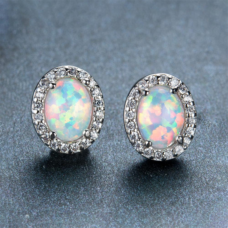 White/Blue Fire Opal Oval Stud Earrings - Bamos