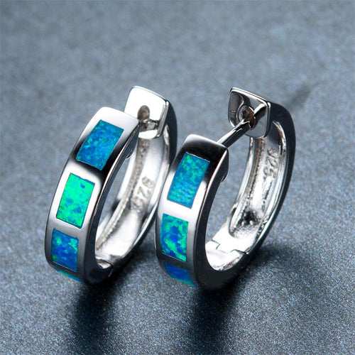 Blue/White Opal Hoop Earrings - Bamos