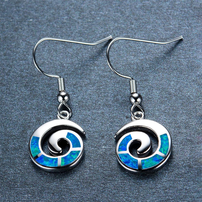 Blue/White Opal Drop Earrings - Bamos