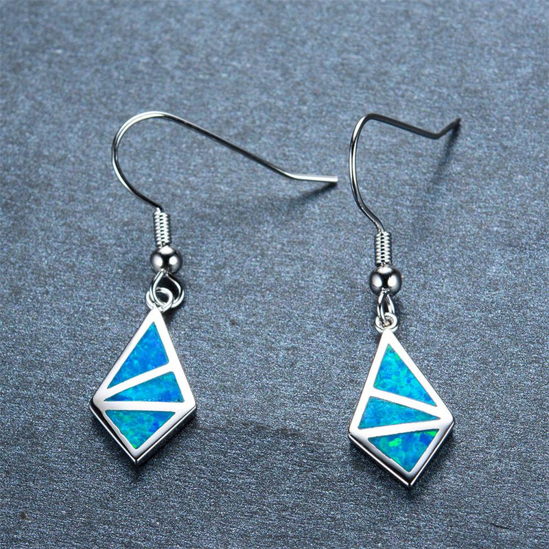 Blue/White Opal Geometric Dangle Earrings - Bamos