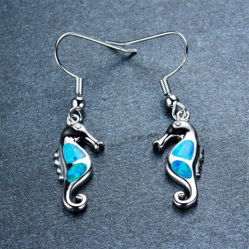 Blue/White Opal Hippocampus Drop Earrings - Bamos