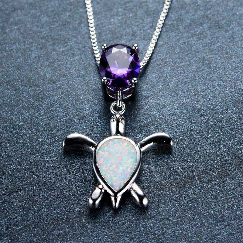 Amethyst Turtle Pendant Necklace (White Fire Opal) - Bamos