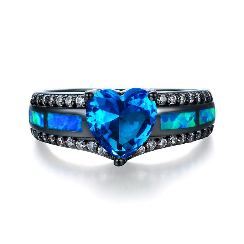 Aquamarine Heart Rings For Women - Bamos