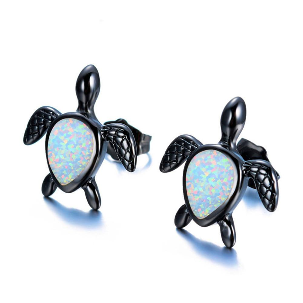 fine silver natural gift sterling products file stud turtle for opal jewelry sea blue party women earrings