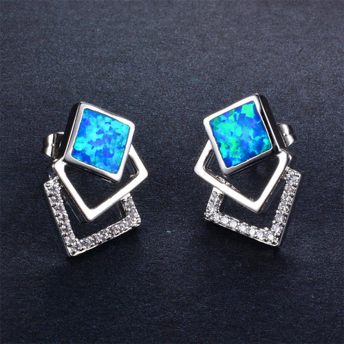 Blue/White Opal Stud Earrings - Bamos