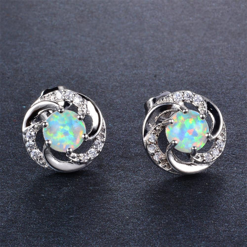 White/Blue Opal Round Stud Earrings - Bamos