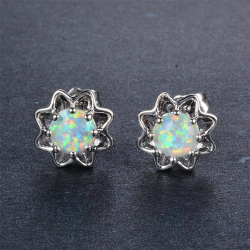 White/Blue Opal Stud Earrings - Bamos