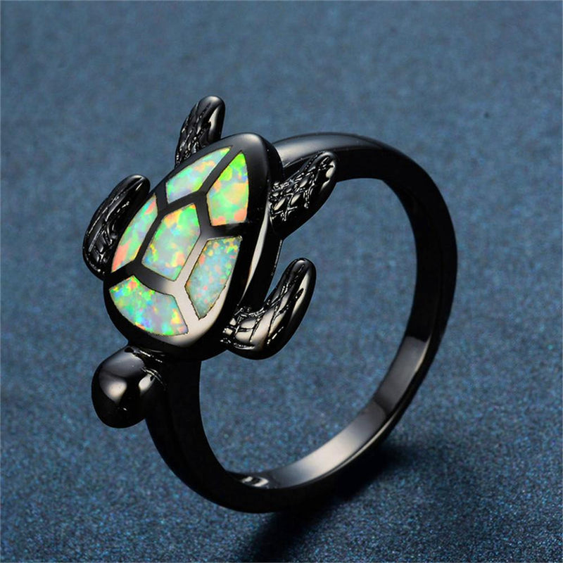 White Opal Turtle Ring - Bamos