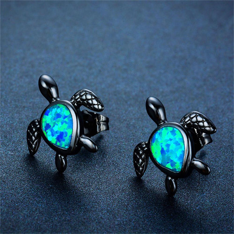 Turtle Stud Earrings (Blue Opal) - Bamos