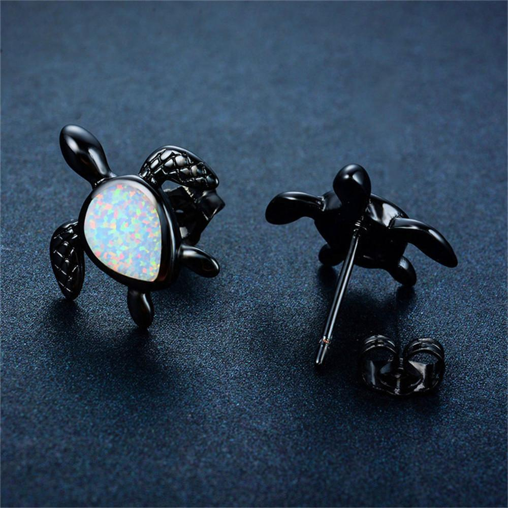 file earrings sterling silver fine opal women stud for natural jewelry sea party products gift blue turtle