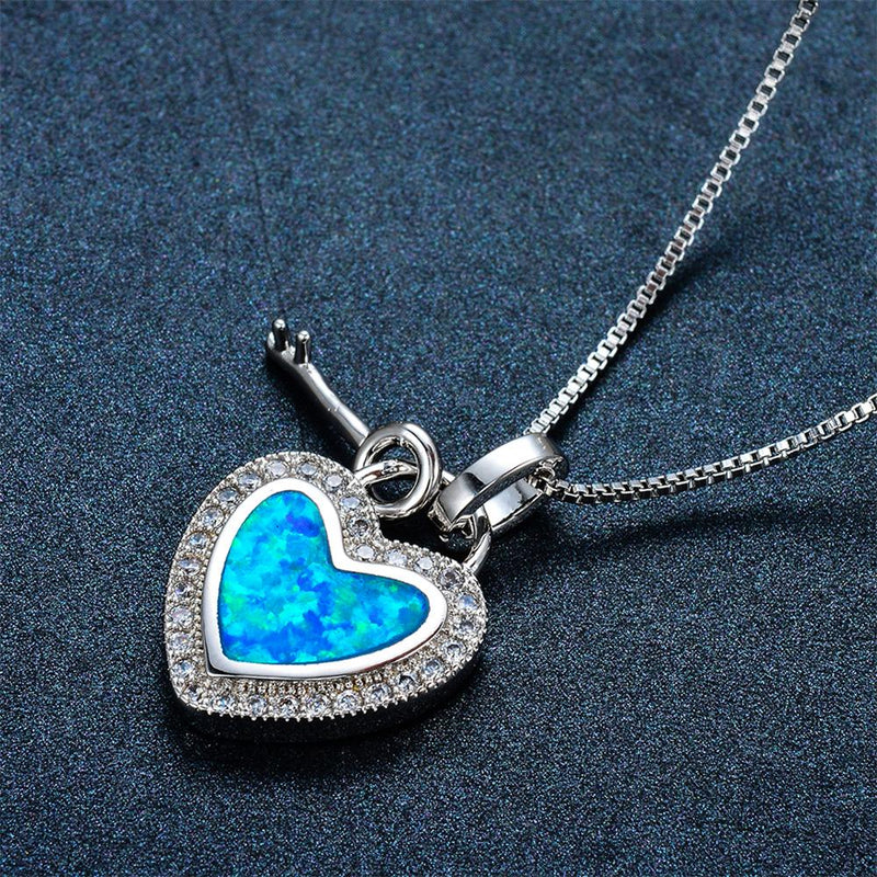 Heart & Key Pendant Necklace (Blue Fire Opal) - Bamos