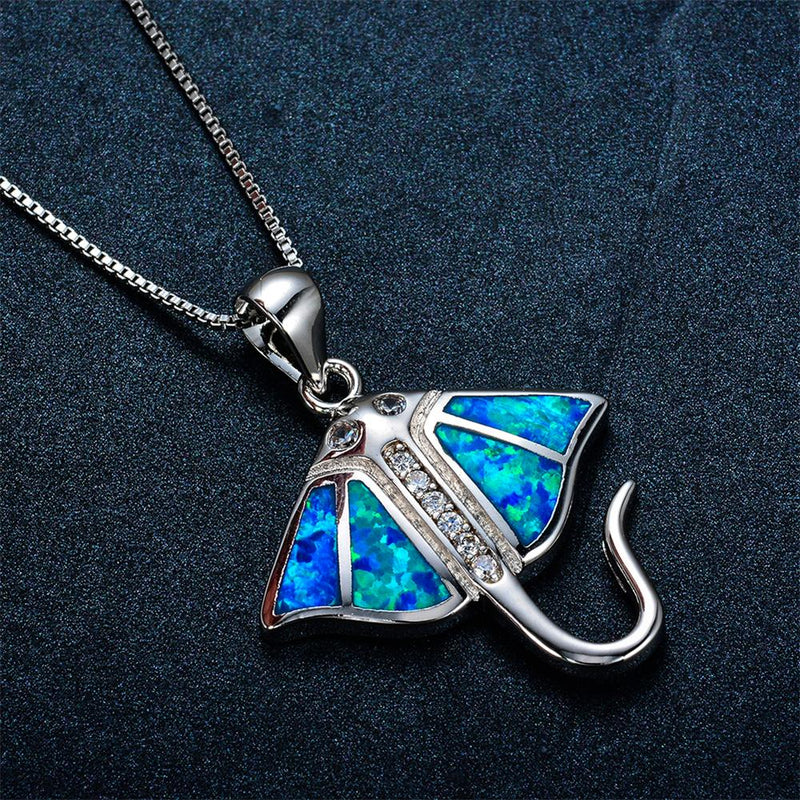 Fish Pendant Necklace (Blue Fire Opal) - Bamos