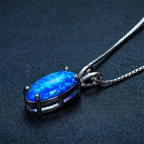 Oval Blue Fire Opal Pendant Necklace - Bamos