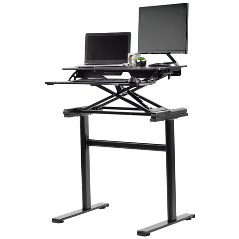 "Standing Health - VIVO Black Height Adjustable 32"" Tabletop Converter with Heavy-Duty Desk Frame - DESK-KIT-1KK -  Standing Health - Standing Desk - Desk Converter"