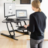 Standing Health - VIVO Black Corner Electric Height Adjustable Cubicle Sit to Stand Desk Riser - DESK-V000VCE -  Vivo - Standing Desk - Desk Converter
