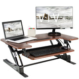 Standing Health - VIVO Dark Wood Height Adjustable Standing Desk Monitor Riser Tabletop Sit Stand - DESK-V000VD -  Vivo - Standing Desk - Desk Converter