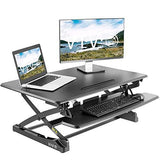 "Standing Health - VIVO Black Electric Height Adjustable Standing Desk Monitor Riser 36"" Sit Stand - DESK-V000ZE -  Vivo - Standing Desk - Desk Converter"
