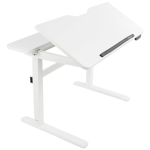 "Standing Health - VIVO White Height Adjustable Sit Stand Electric 48"" Drafting Desk 