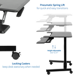 "Standing Health - VIVO Black Pneumatic 36"" Mobile Height Adjustable Two Platform Standing Desk - DESK-V111GT -  Vivo - Standing Desk - Desk Converter"