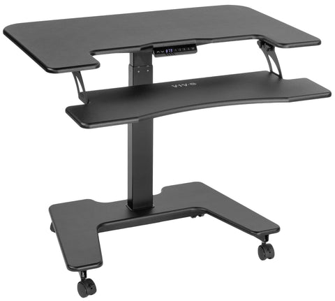 "Standing Health - VIVO Black Electric Mobile Height Adjustable Two Platform Standing Desk 36"" - DESK-V111VT -  Vivo - Standing Desk - Desk Converter"