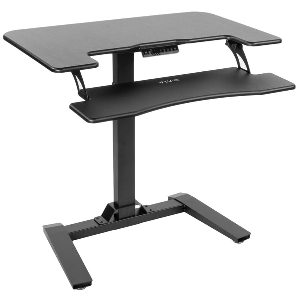 "Standing Health - VIVO Black Electric Height Adjustable Two Platform Standing Desk with Base 36"" - DESK-V111V -  Vivo - Standing Desk - Desk Converter"