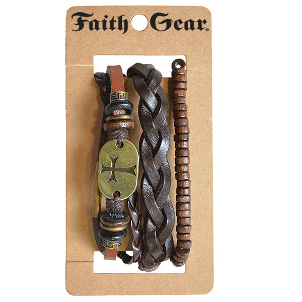 Faith Gear Guy's Bracelet Set - Gold Cross