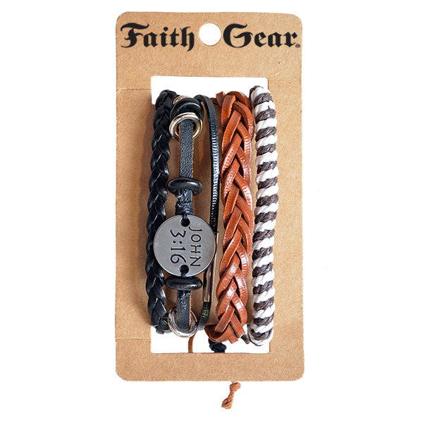 Faith Gear Guy's Bracelet Set - John 3:16 Multi
