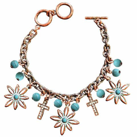 Flower Cross Copper Women's Bracelet