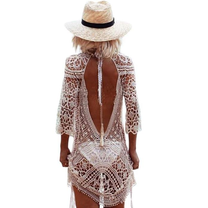 Myhotstuff Backless Cut Out Lace Beach Dress And Cover Up