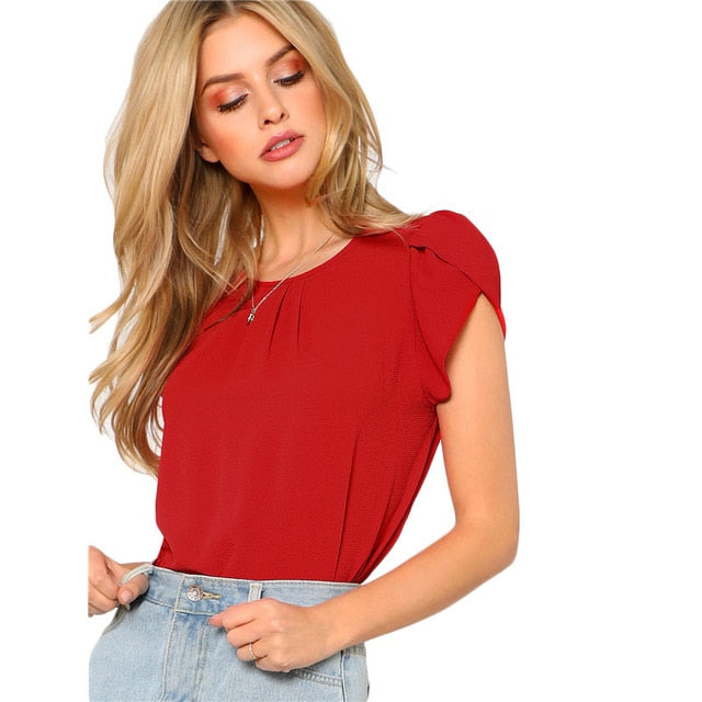 Myhotstuff Red Petal Sleeve Round Neck Blouse