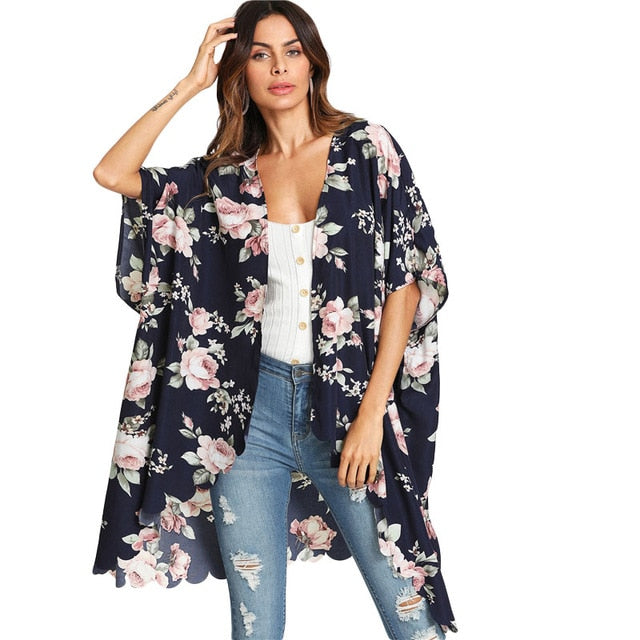 Myhotstuff Flower Print Long Half Sleeve Blouse