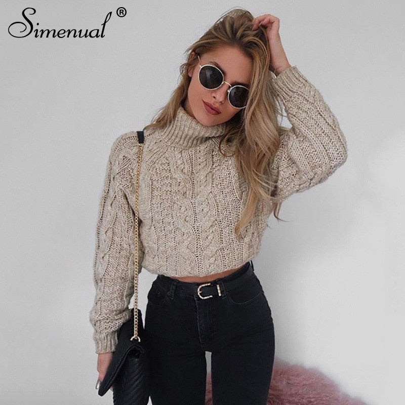 Myhotstuff Twist Turtleneck Cropped Sweater