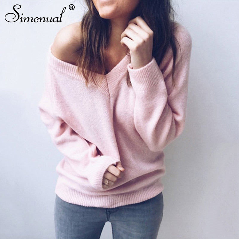 Simenual V neck women sweaters and pullovers knitted autumn winter clothing solid basic slim pullover female jumper sweater lady