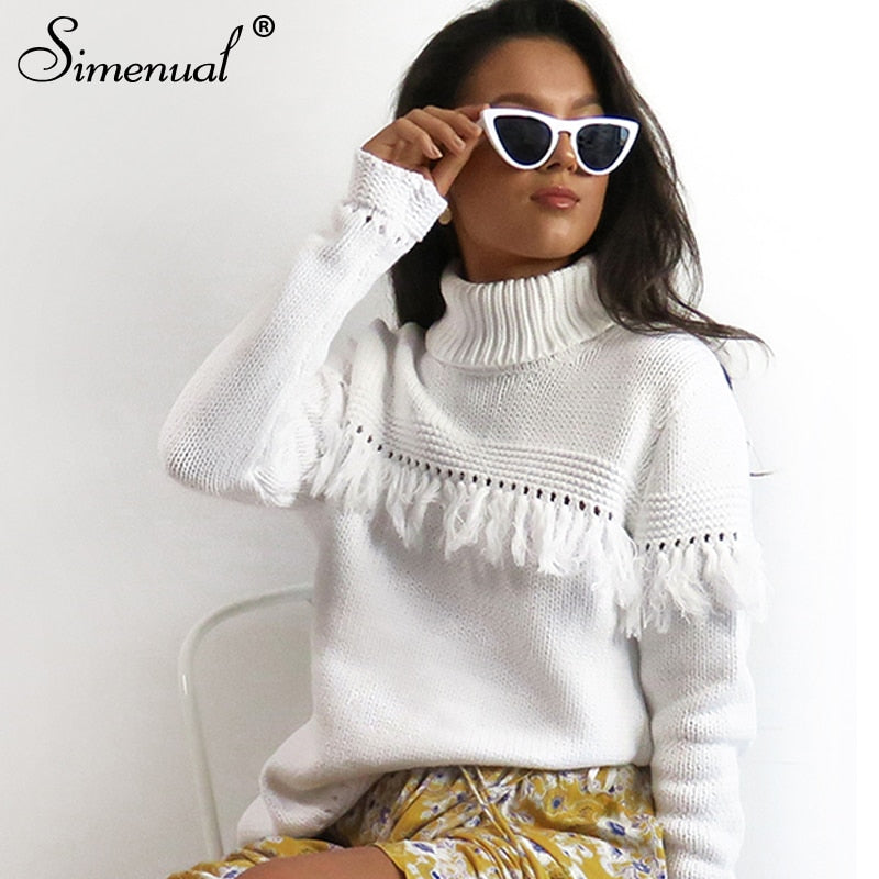 Myhotstuff Knitted Fringe Turtleneck Sweater