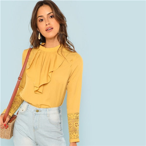 Myhotstuff Yellow Flounce Neck Long Sleeve Blouse