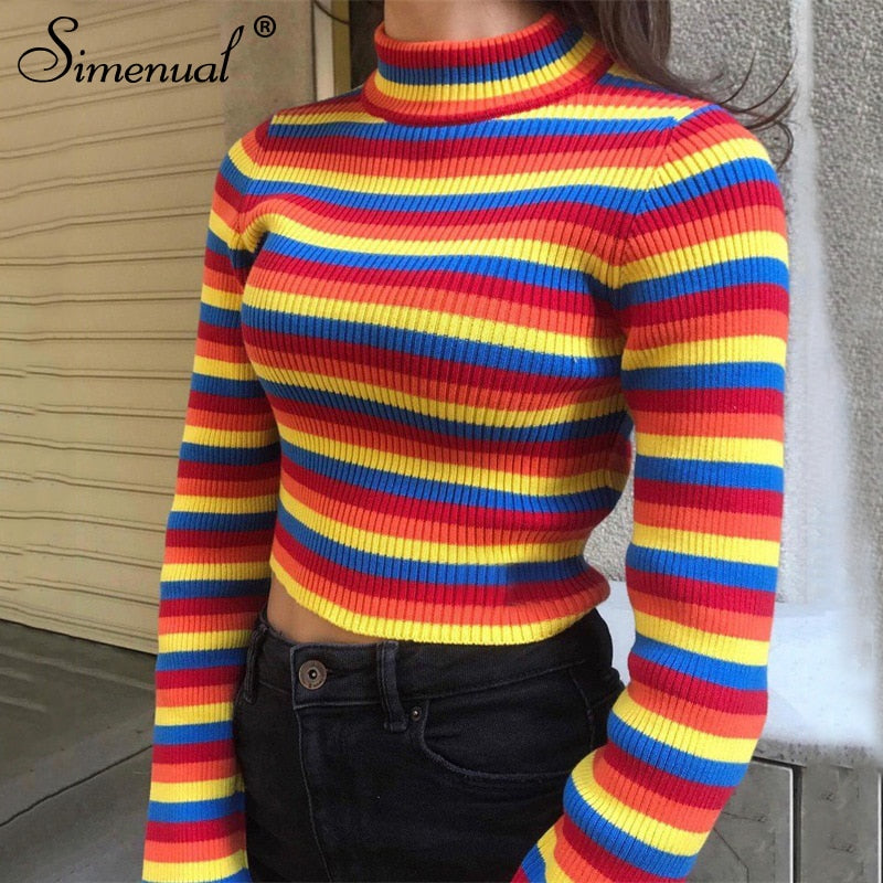 Myhotstuff Knitted Rainbow Stripe Slim Sweater