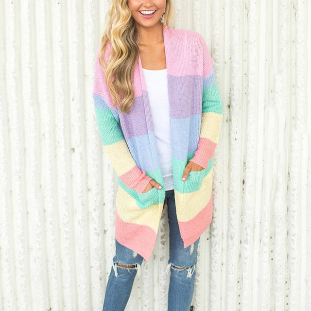 Myhotstuff Rainbow striped long cardigan