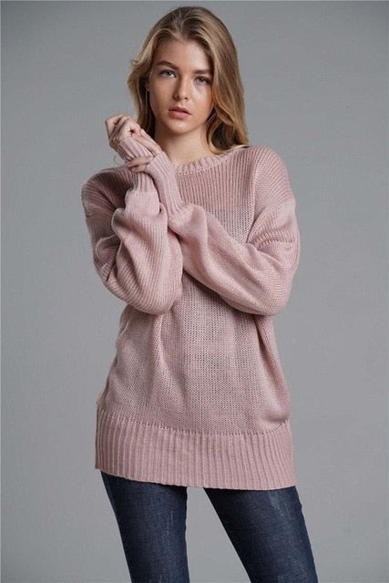 Myhotstuff Knitted Backless Bow Tie Sweater