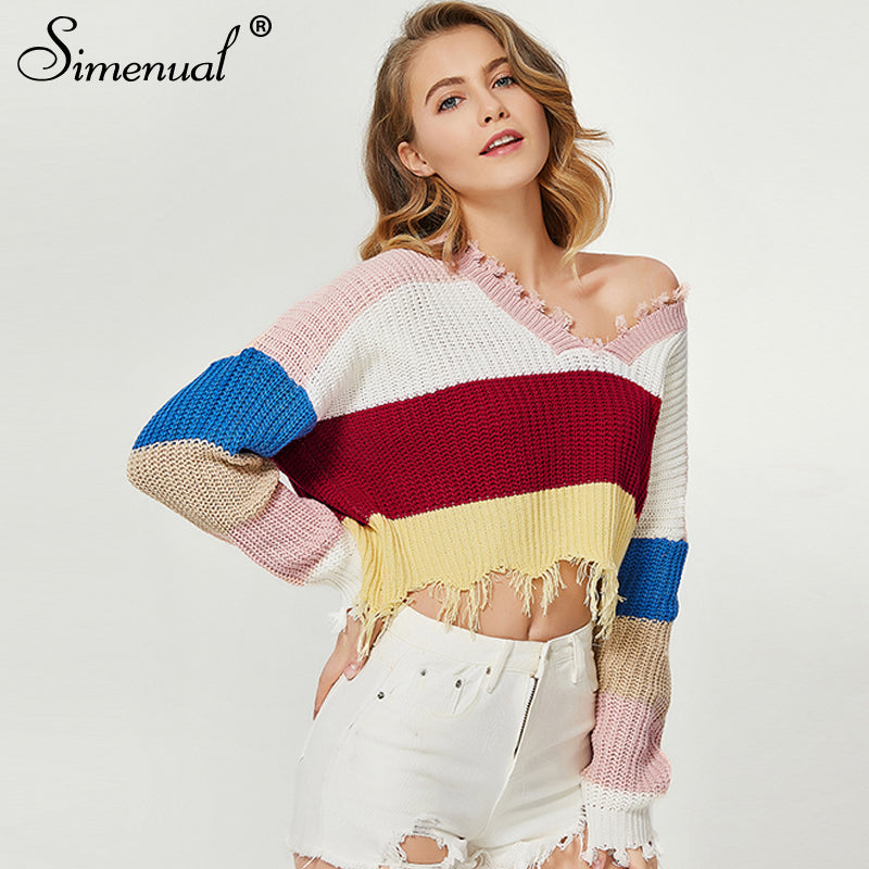 Myhotstuff V-Neck Rainbow Stripe Crop Sweater