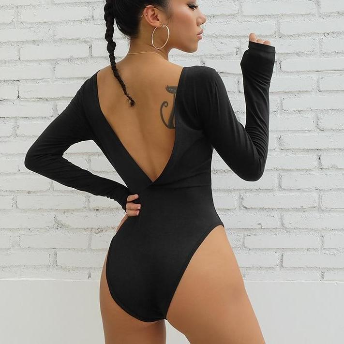 Myhotstuff Black Backless Long Sleeve Bodysuit