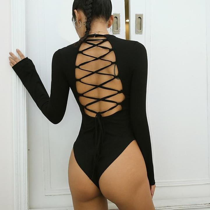 Myhotstuff Black Backless Lace Up Long Sleeve Jumpsuit