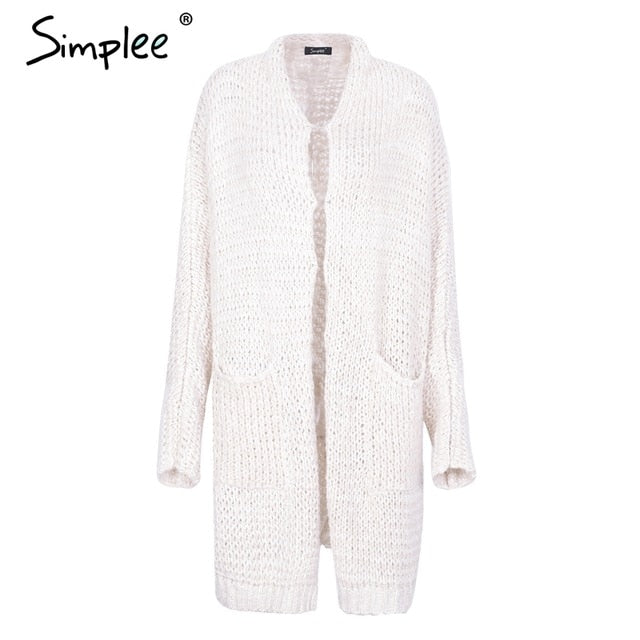 Simplee Casual knitted long cardigan female Loose cardigan knitted jumper Warm winter 2018 sweater women cardigan plus size coat