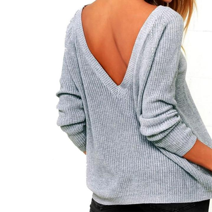 Myhotstuff Backless Long Sleeve V-Neck Sweater