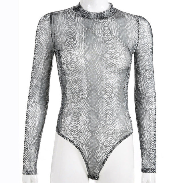 Myhotstuff Snake Print Mesh Bodysuit Hot Turtleneck Jumpsuit