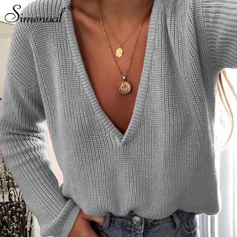 Simenual V neck knitted sweater women long sleeve pullovers winter solid jumper korean basic sweaters femme 2019 fashion clothes