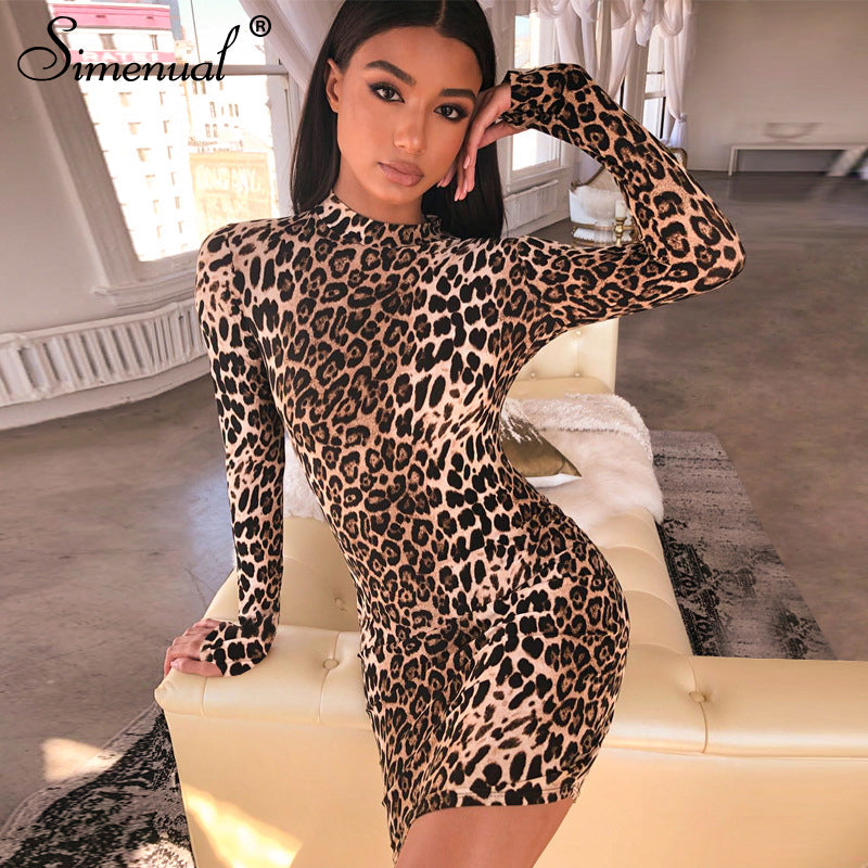 Myhotstuff Leopard Long Sleeve Body-con Dress