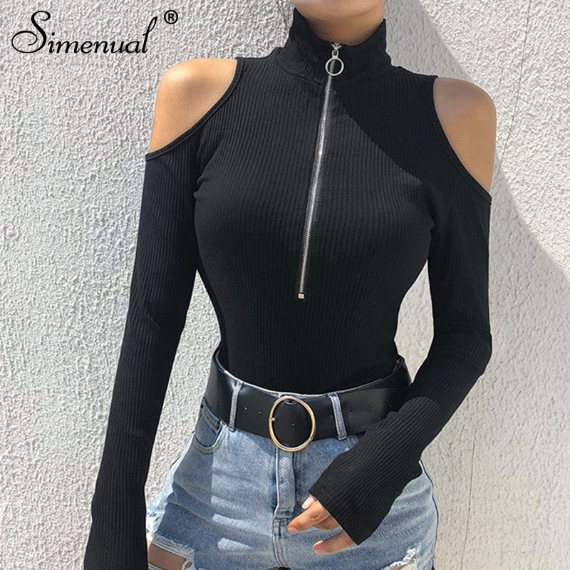 Simenual Turtleneck zipper bodysuits with open soulders 2018 long sleeve bandage black jumpsuit fashion sexy bodysuit women sale