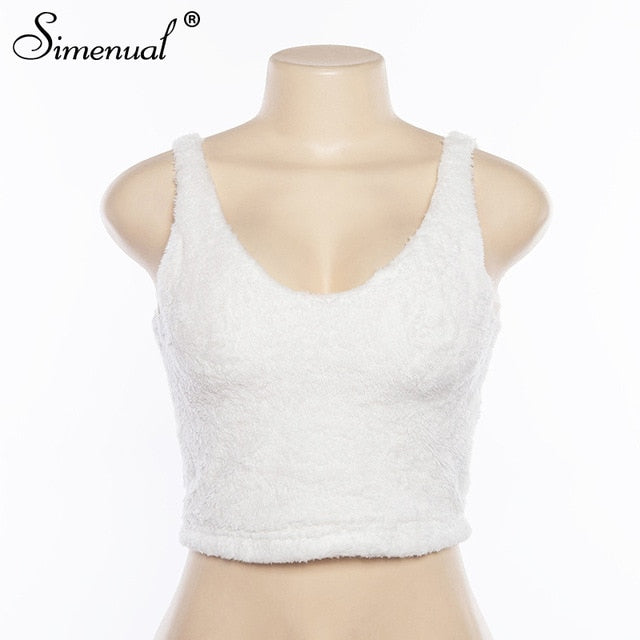 Myhotstuff V-Neck White Furry Tank Top