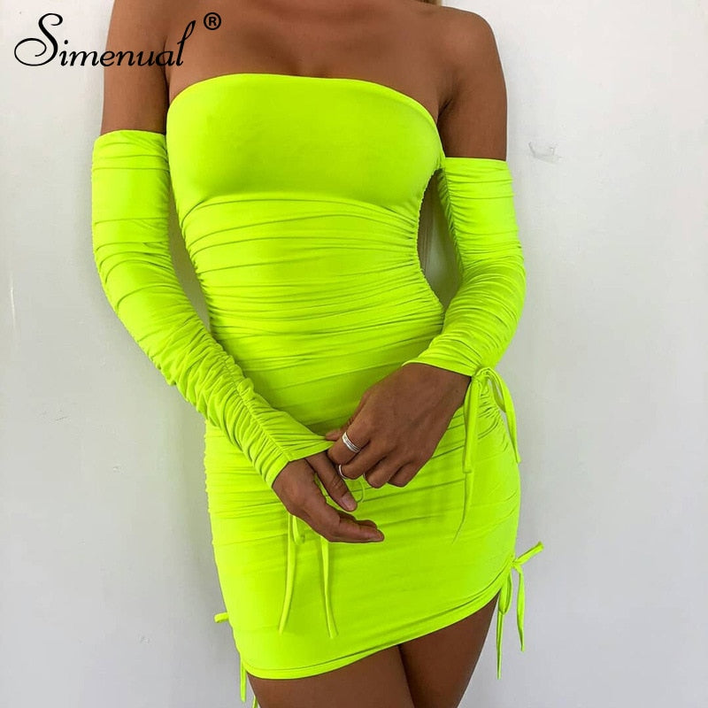 Myhotstuff Strapless Wrapped Chest Long Sleeve Mini Dress